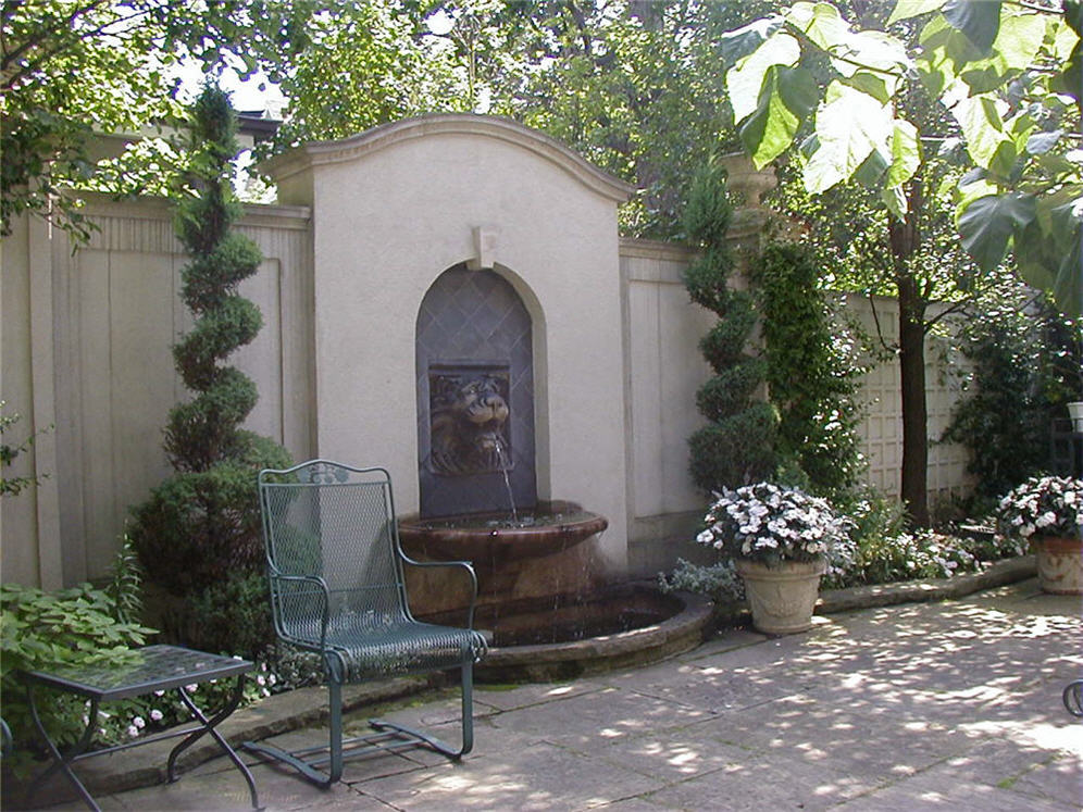 Classic Patio With Wall Fountain